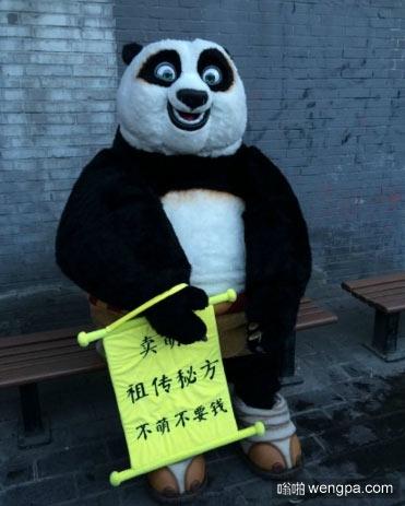 师傅,你这萌怎么卖的?功夫熊猫摆摊卖萌