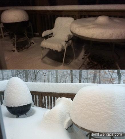 昨天晚上下雪了,早上打开门一看就这样了