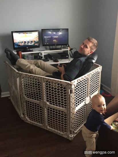 玩家爸爸为了不让自己的儿子影响比赛 他买了这个