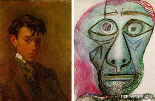 毕加索16岁的自画像 VS 72岁的自画像