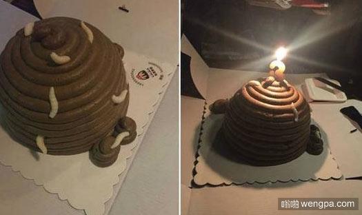 重口味生日蛋糕 一坨屎上爬满蛆虫 城会玩 - 嗡啪搞笑图片