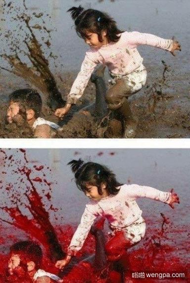 一点点的改变 小孩_血_泥巴_ps - 嗡啪搞笑图片