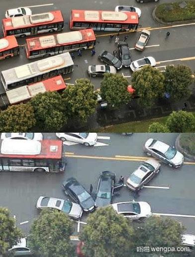 4车撞成菊花 这车是怎么开的 - 嗡啪社会