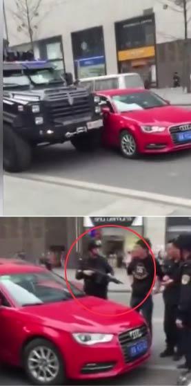 【视频】奥迪变道撞到防暴车 实拍奥迪强行变道并线撞特警车 碰到硬茬儿了吧