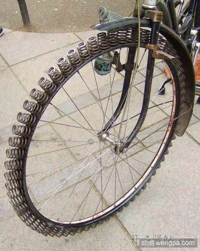 自行车轮胎弹簧减震系统
