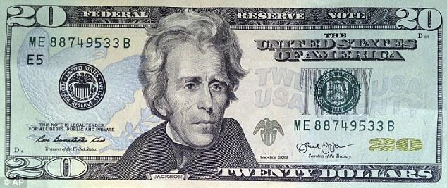 目前流通的10元面值和20美元面值的纸币。分别是亚历山大·汉密尔顿和安德鲁·杰克逊的头像图案