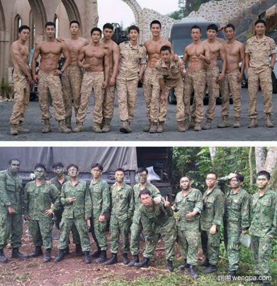 韩国剧中的士兵VS韩国现实中的士兵-嗡啪搞笑图片