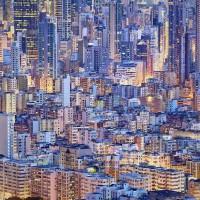 摄影:黄昏后的香港密集楼房与海湾呼应