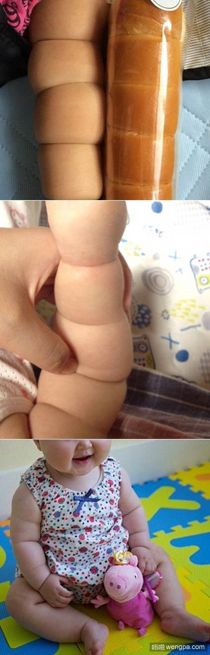 面包还是婴儿 小孩手臂像面包傻傻分不清