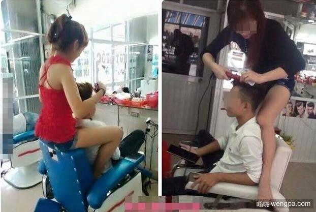 这样的理发店你敢进去吗?奇葩剪发照片 - 嗡啪搞笑图片