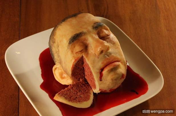 重口味恐怖蛋糕图片:成人脑袋