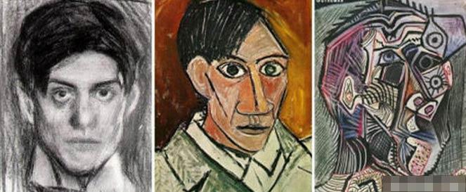 毕加索18岁、25岁、90岁时的作品