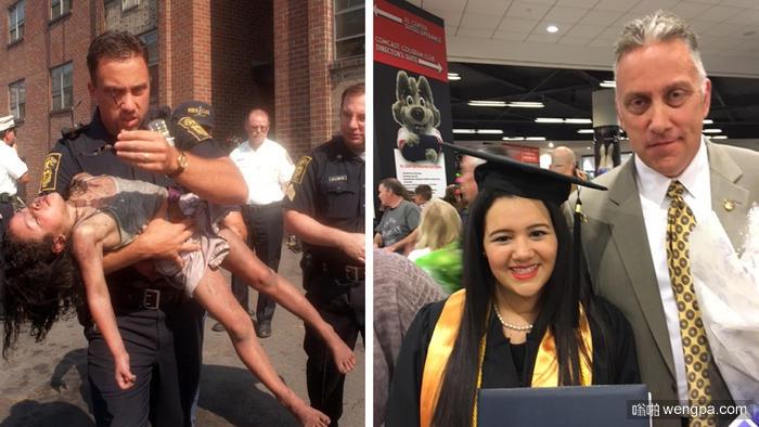 警官98年救过一个小女孩 如今在小女孩大学毕业典礼上他们再次团聚