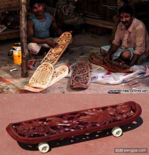 印度阿三制作的巧雕红木滑板 据说卖的很好