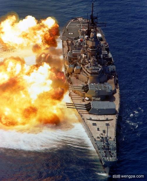 美国爱荷华号(USS Iowa)军舰炮击瞬间-嗡啪军事