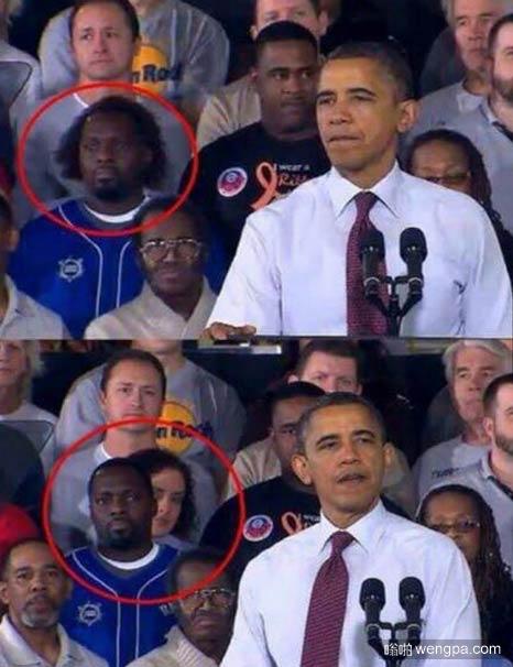 奥巴马演讲,背景观众席亮了-嗡啪搞笑图片