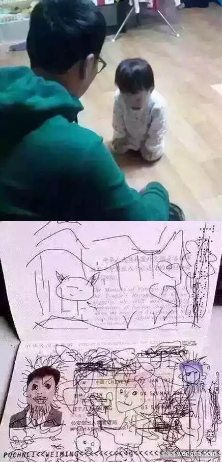 熊孩子涂鸦老爸护照 导致五一出行计划取消 机票酒店钱白瞎了