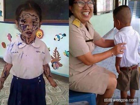 老师让小男孩画他最喜欢的人…