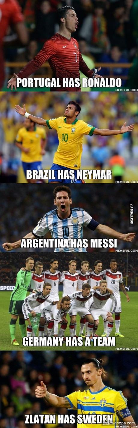 葡萄牙有C罗,巴西有内马尔,阿根廷有梅西,德国有一个团队,伊布有瑞典