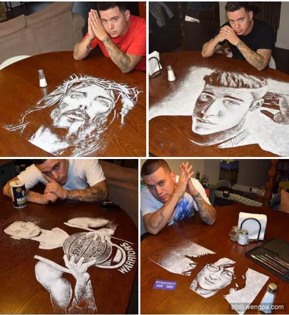小伙用盐堆积肖像画