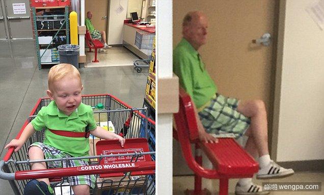 """我想我知道我的儿子70年后是什么样子:爸爸在杂货店与他孩子的""""未来版""""面对面"""