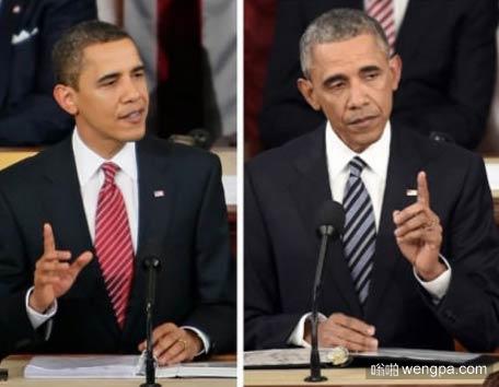 奥巴马当总统8年前后对比照 都是泪啊 奥巴马搞笑图片 - 嗡啪网