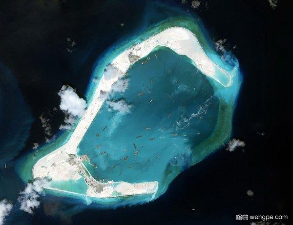 中国南海渚碧礁俯瞰图