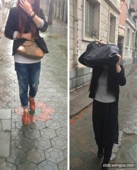 下雨天 妹子手中的包是不是名牌 一目了然