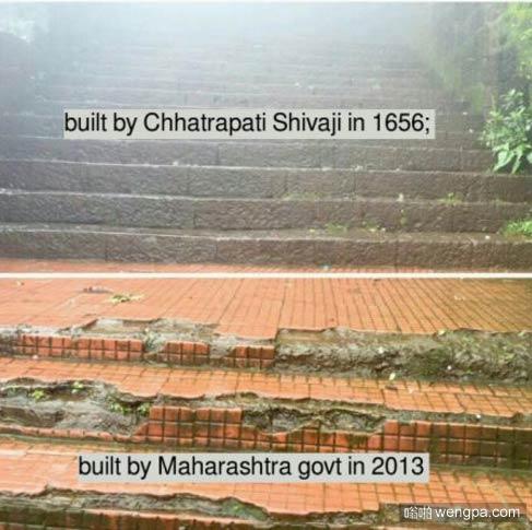 印度的悲剧 2013年建的台阶烂了而1956年建的台阶却没毛病