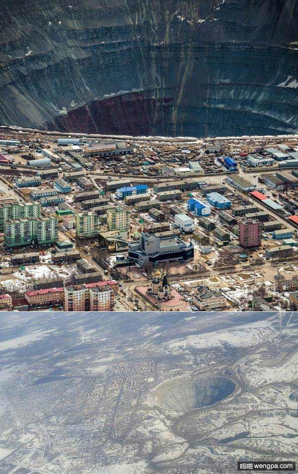 俄罗斯米尔内钻石矿场。采石场深度525米,直径1.2公里,是世界上最大的露天钻石矿场之一。