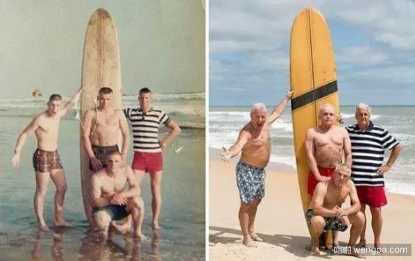 50年后在同一地点合影