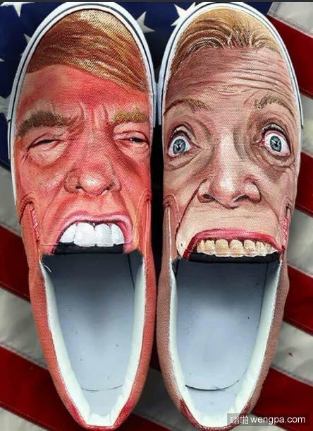"""""""将脚伸进嘴里"""" 你会在鞋子上画谁的头像"""