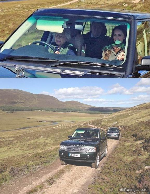 90岁英国女王亲自开车 带领孙媳妇苏格兰度假