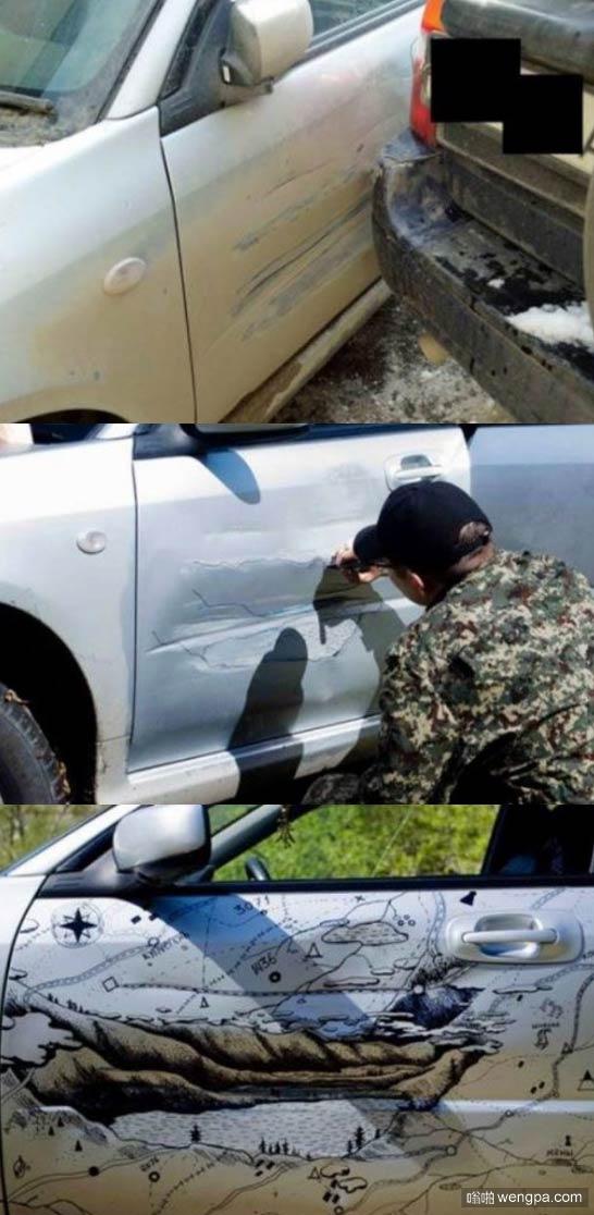 大兵的军车刮到路边的私家车 很有艺术天分的兵哥哥是这样处理的 完美啊