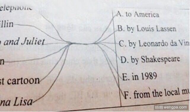 分别用线连接右边的答案