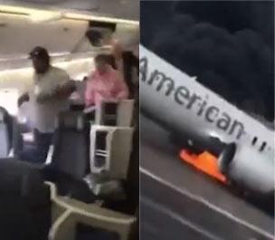 美国芝加哥机场飞机着火 机上乘客手机拍摄全过程 惊魂未定