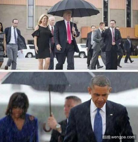 特朗普和奥巴马在下雨天分别的举动 - 嗡啪网