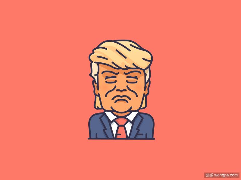 Trump川普特朗普搞笑插画gif动态图片