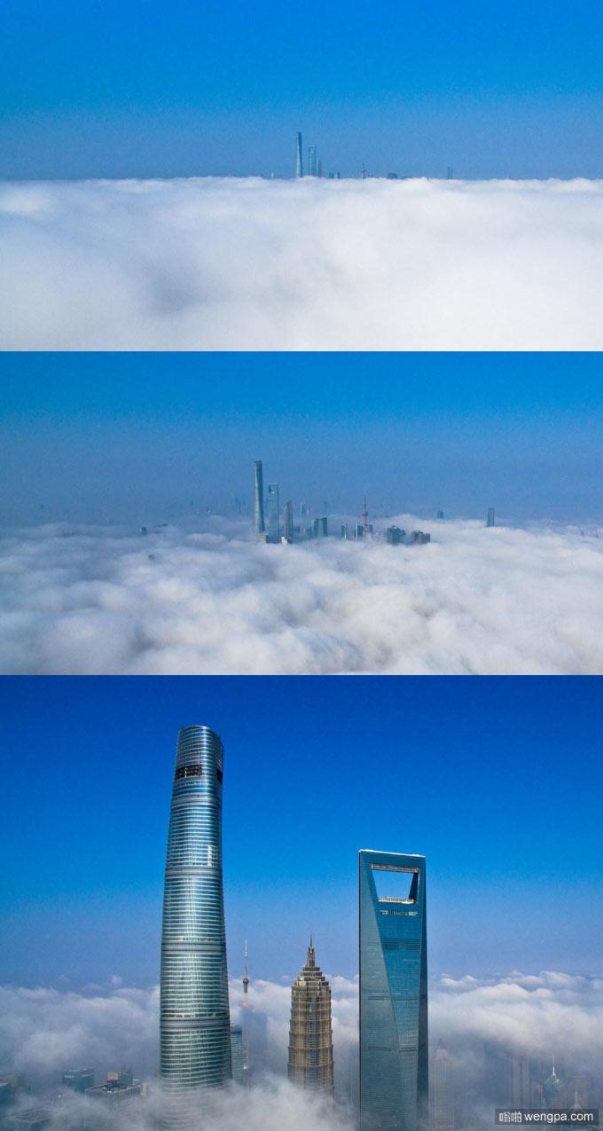 航拍大雾下的上海陆家嘴 云端魔都壮观犹如仙境