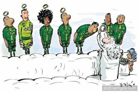 巴西漫画家Dalcio 为巴甲球队沙佩科人队空难画的漫画 - 嗡啪网