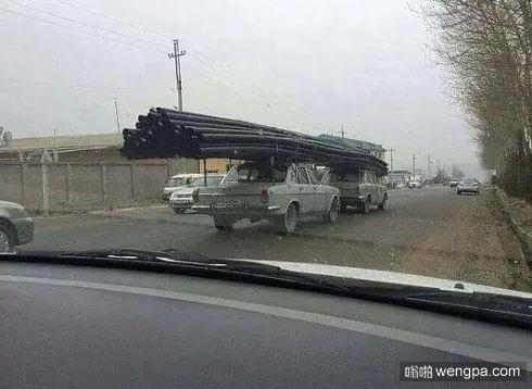 战斗民族是如何使用家用轿车拉货的 战斗民族汽车搞笑图片 - 嗡啪网