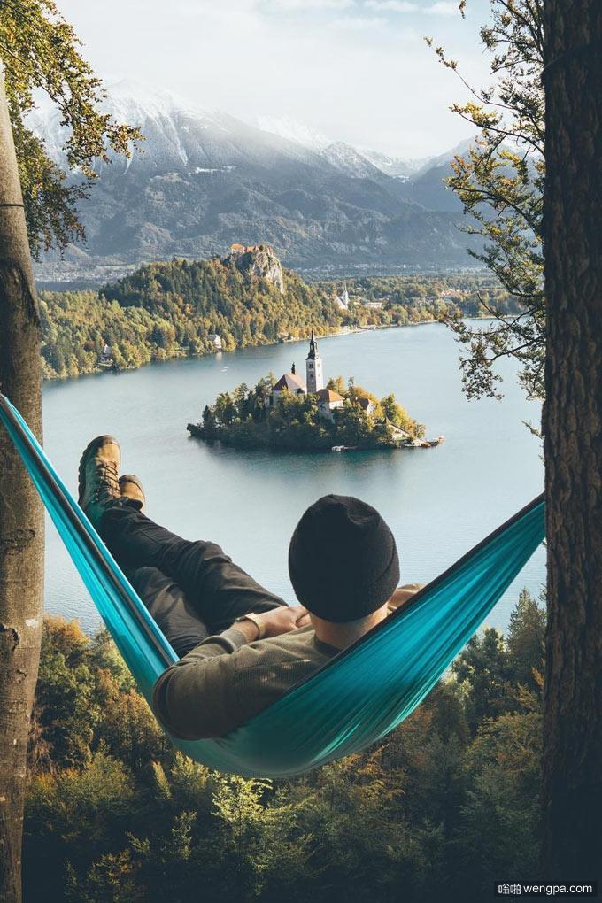 远眺斯洛文尼亚布莱德湖