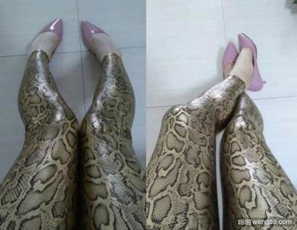 【奇葩买家秀】蟒蛇纹紧身裤 这姑娘把蟒蛇纹裤穿出了3D的感觉