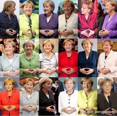 默克尔的常用手势 搞笑图片 - 嗡啪网