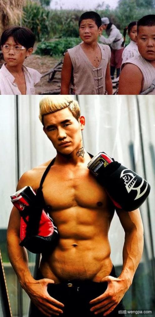 """""""小兵张嘎""""竟变健身狂魔 谢孟伟半裸肌肉男 PS:第一张左边那个是张一山吗?"""