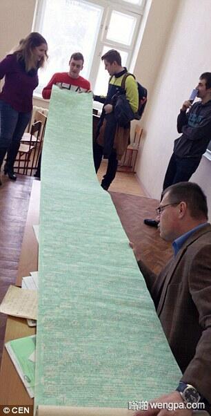 """俄罗斯沃罗涅日国立大学学生3.7米的""""小抄"""",老师震惊 - 嗡啪网"""