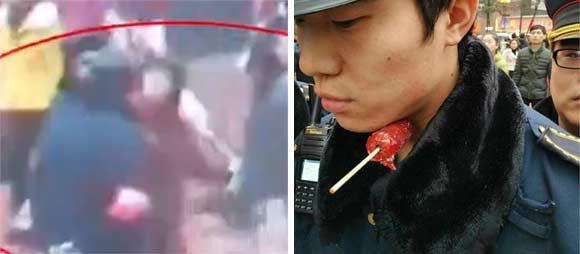 【视频】老太糖葫芦签扎城管视频曝光 回手一插扎进气管