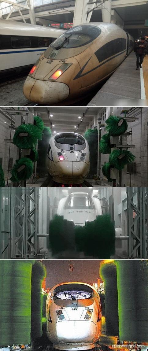 """【高铁这样洗车】高铁雾霾天车头变""""茶叶蛋""""进洗车房洗车"""