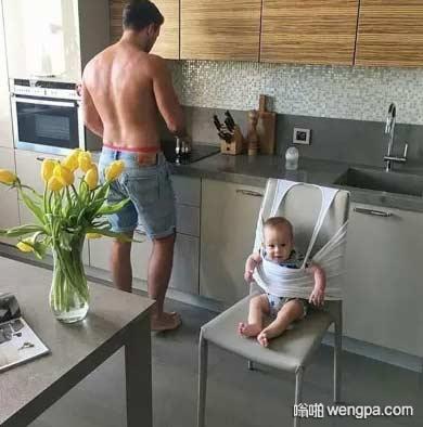 机智的老爸 当爸爸带孩子搞笑图片 - 嗡啪网