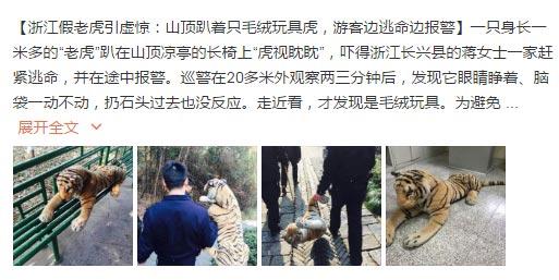 浙江假老虎引虚惊 网友:走进科学可以拍两集